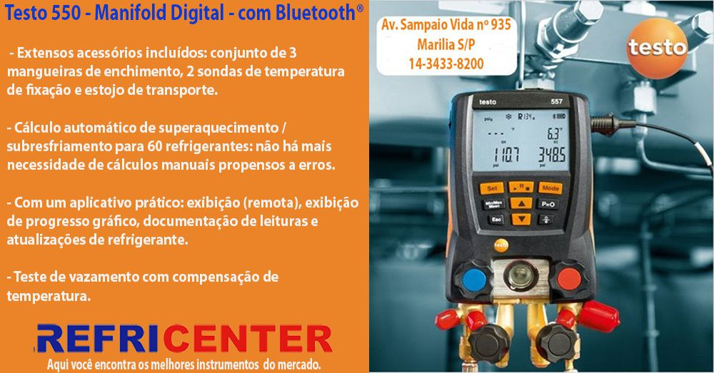 MANIFOLD TESTO 550 DIGITAL C/ BLUETOOTH 3 MANGUEIRAS E 2 SONDAS DE TEMPERATURA