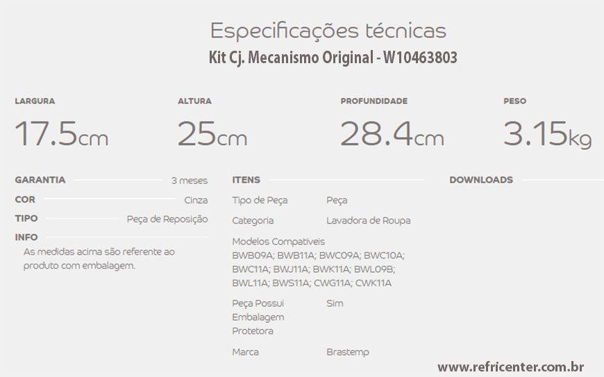 Mecanismo Lavadora Cesto Inox Brastemp/Consul Original 3803/ W11300678