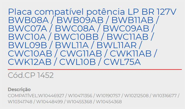 Placa Eletrônica Potencia Lavadora BWB08A / CWC10AB CP 1452
