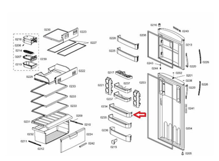 Prateleira Móvel Acrílica Da Porta Pequena Bosch - 662058