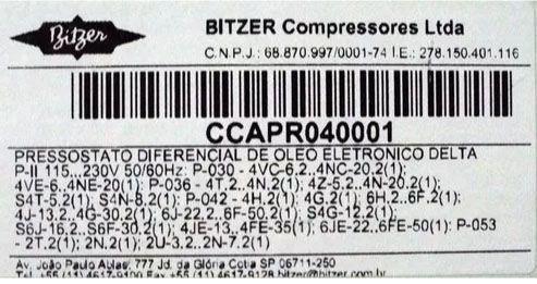 PRESSOSTATO ELETRÔNICO ÓLEO BITZER  CCAPR040001 DELTA P 4VC-6.2