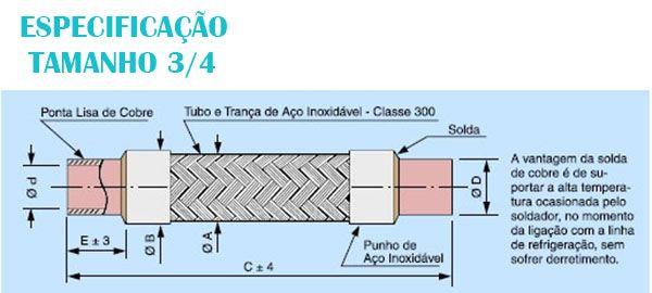 Tubo Flexivel Inox com ponta de cobre 3/4 RAC 027-105