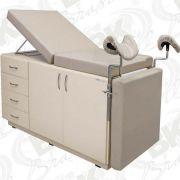 Mesa de Exames Clínicos e Ginecológicos com Gabinete em Mdf (02 Portas E 04 Gavetas) – Mod.  BKME 006 – BK