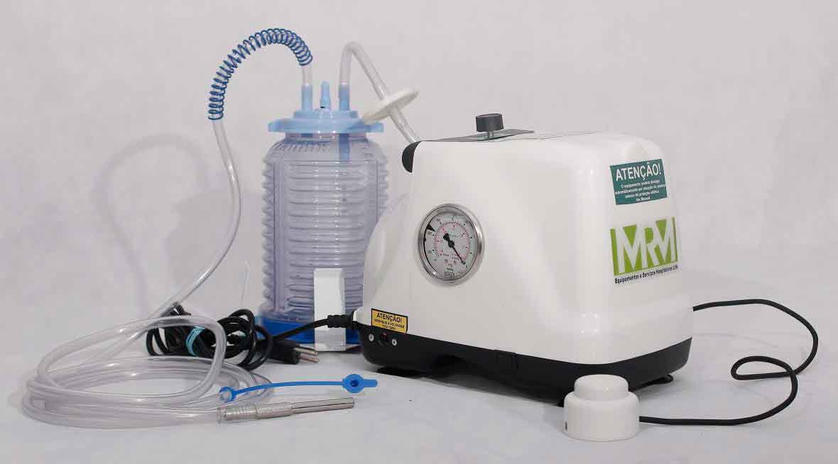 Aspirador Cirúrgico 2 litros frasco em polivinil - Mod. MRM-500 com Bateria - Aspiravida