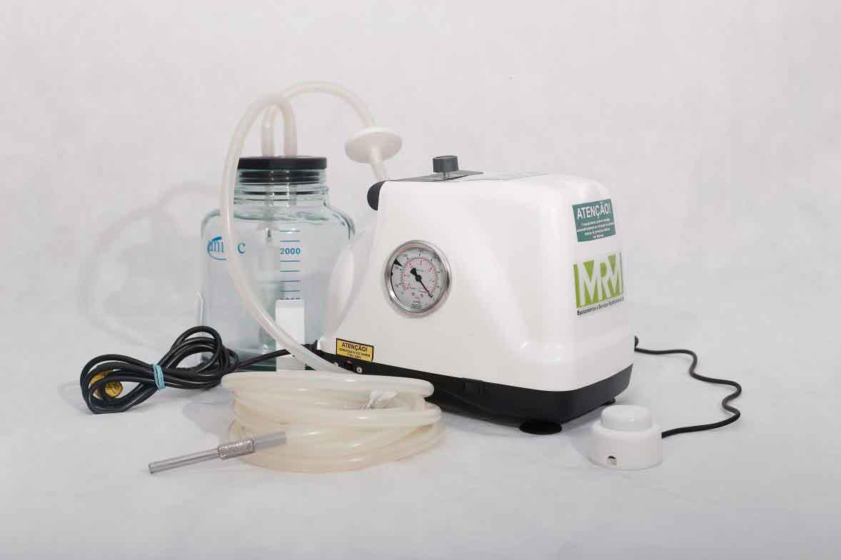 Aspirador Cirúrgico 3 litros frasco em polivinil ou vidro - Mod. MRM-500 com Bateria - Aspiravida