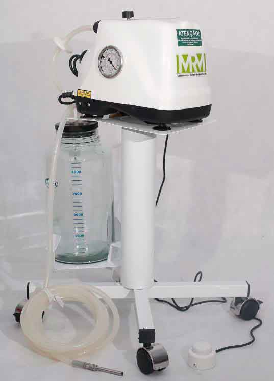 Aspirador Cirúrgico 5 litros frasco em vidro ou polivinil, - Mod. MRM-500C com Bateria- Aspiravida