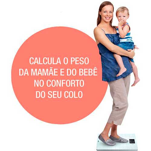 Balança Digital Especial com Função Tara (Mamãe e Bebê) Superfície Antiderrapante e Led 200Kg - W920 - Wiso