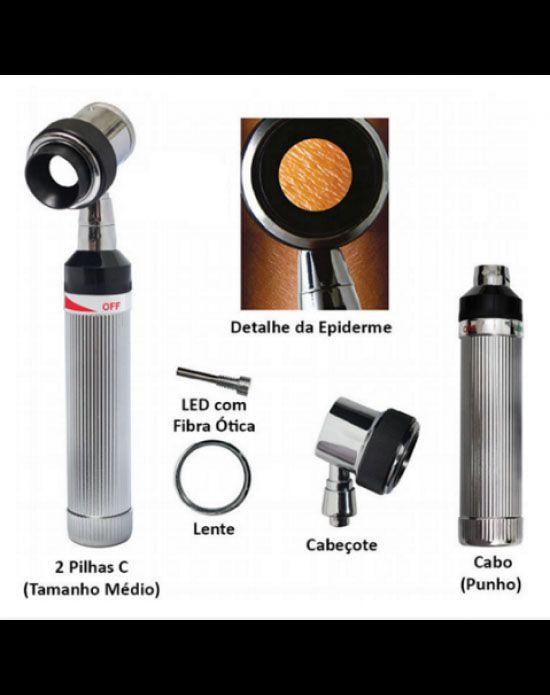 Dermatoscópio C/ LÂMPADA DE LED, com lente tipo lupa com aumento de 10 vezes - Mod.500 - Mikatos - Missouri