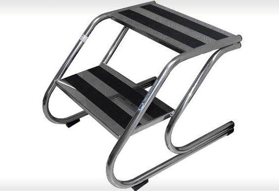 Escada 02 Degraus Totalmente em Aço Inoxidável - Modelo Mbkes 005 - Bk