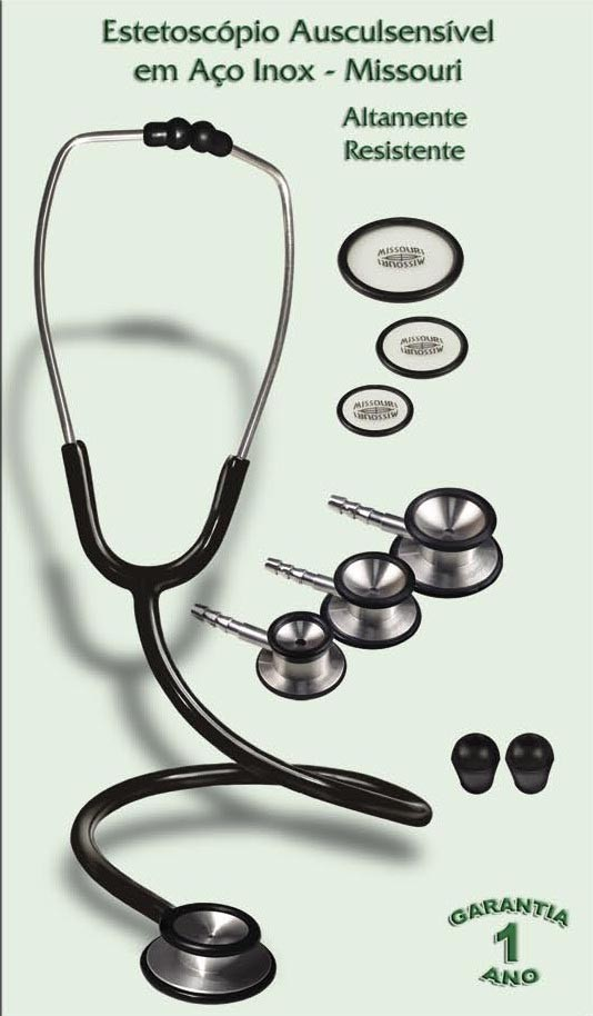 Estetoscópio Ausculsensível em Aço Inox Duoscopic – Lit. (2 Faces) – Adulto – Mod. 162-Inx -Missouri