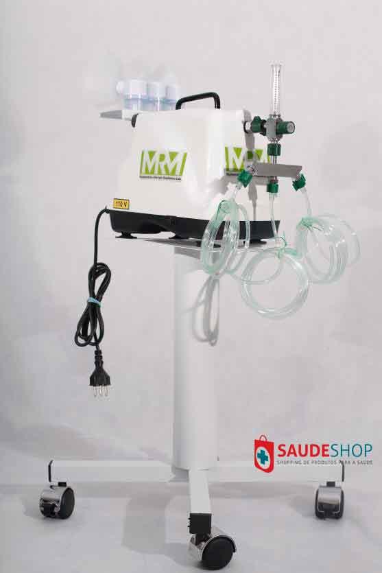 Inalador/Nebulizador com Rodízios Mod. MRM-100C - 3 Saídas - Inalovida