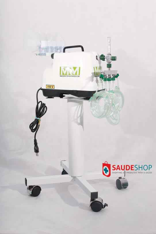 Inalador/Nebulizador com Rodízios Mod. MRM-100C - 5 Saídas - Inalovida