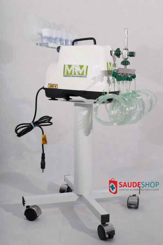 Inalador/Nebulizador com Rodízios Mod. MRM-100C - 6 Saídas - Inalovida