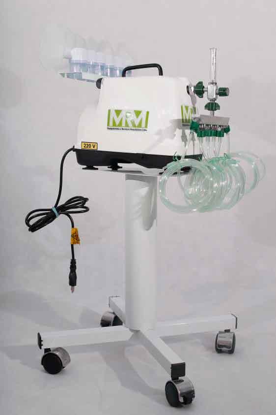 Inalador/Nebulizador com Rodízios Mod. MRM-200C - 6 Saídas - Inalovida