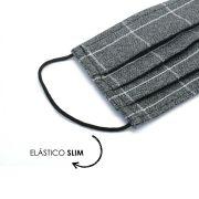 Máscara Reutilizável - Cinza Grid  - Elástico SLIM