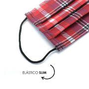 Máscara Reutilizável - Vermelho escocês  - Elástico SLIM