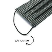 Máscara Reutilizável - Xadrez cinza - Elástico SLIM