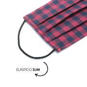 Máscara Reutilizável - Xadrez Vermelho  - Elástico SLIM