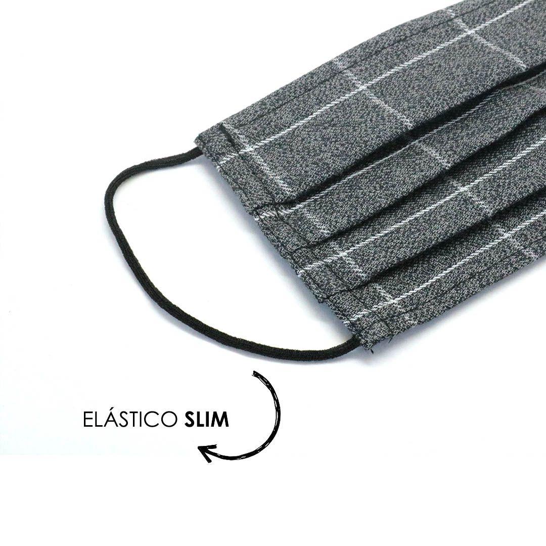 Máscara Reutilizável - Cinza Grid  - Elástico SLIM  - Viking