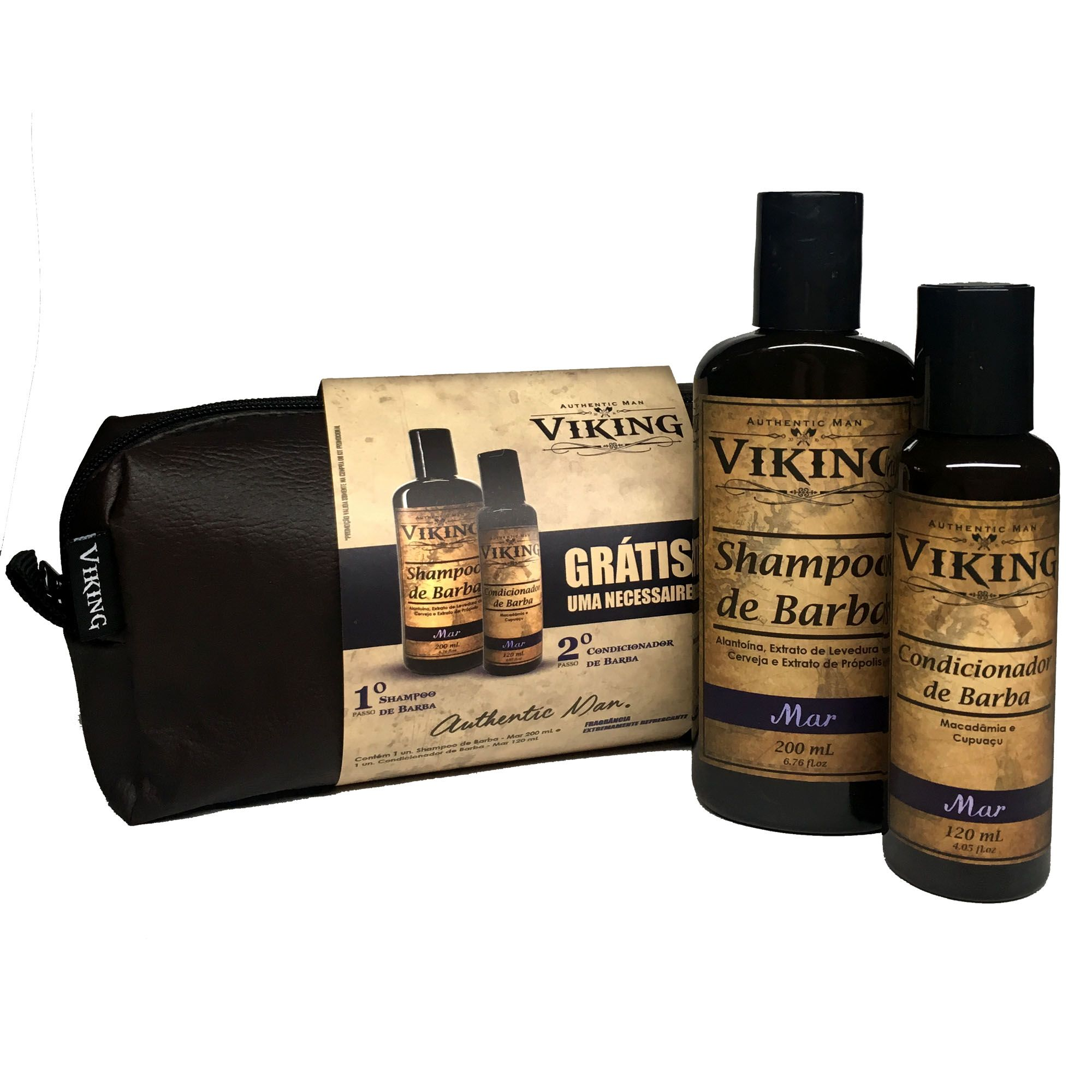 Kit Necessaire - Shampoo e Condicionador de Barba - Mar - Viking  - Viking