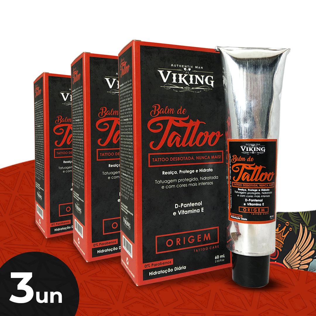 Kit Tattoo - Hidratação Diária (03 un. Balm de Tattoo - Viking - 60 mL)  - Viking
