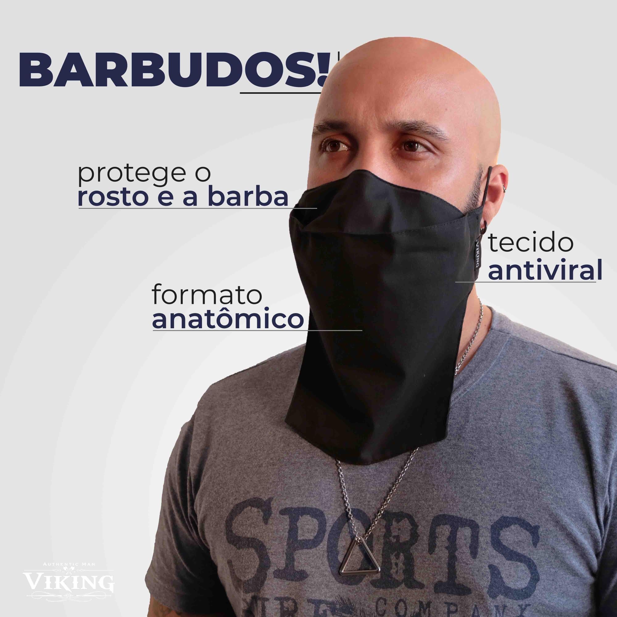 Máscara Reutilizável para Barbudos - Antiviral - Viking   - Viking