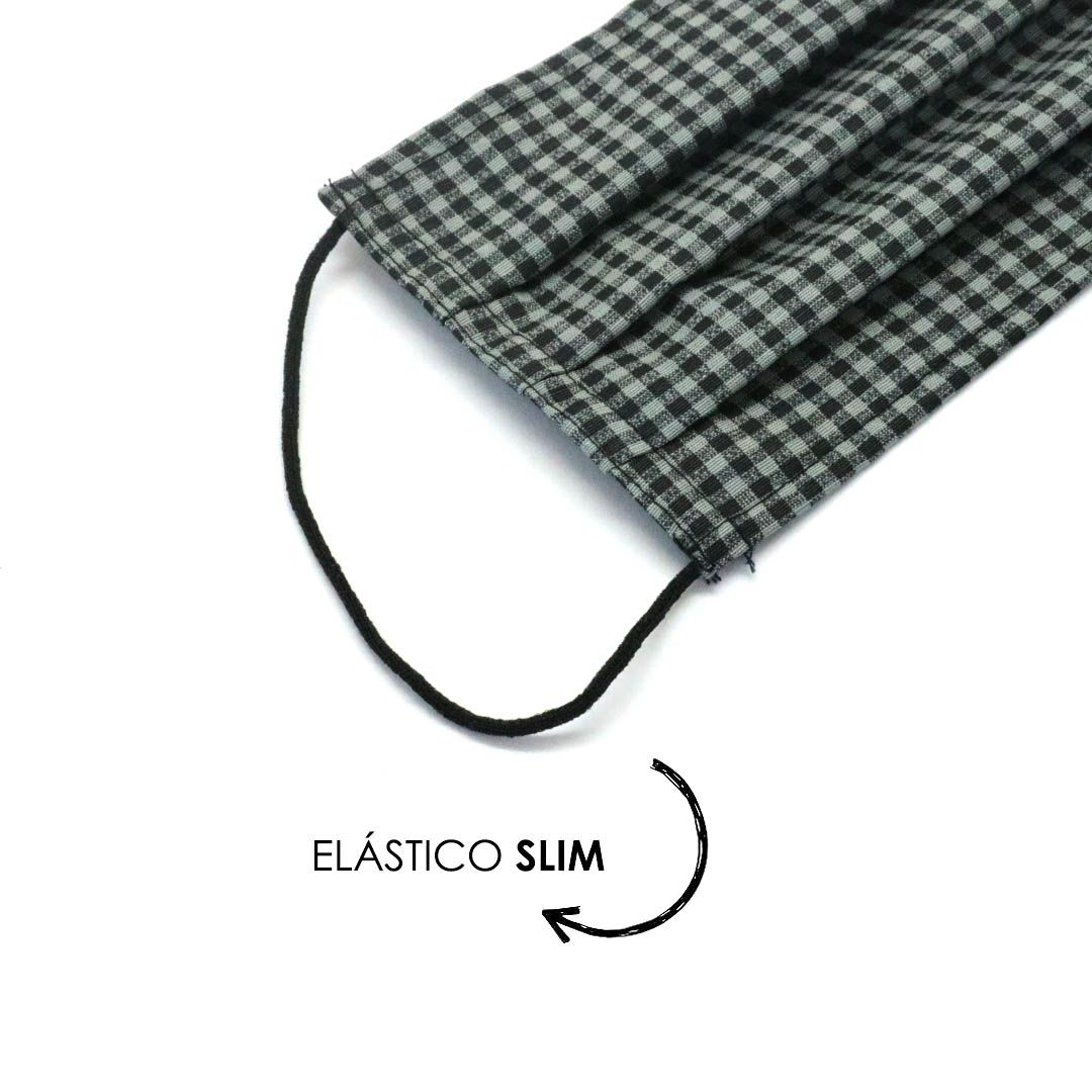 Máscara Reutilizável - Xadrez cinza - Elástico SLIM  - Viking