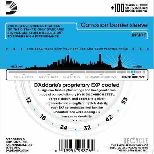 Encordoamento Para Violão Exp11 012 Exp Coated Daddario