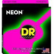 Cordas 11 Violão Hi-def Neon Pink Coated Acoustic Dr Strings