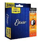 Kit C/ 3 Sets Encordoamento Elixir Guitarra 10/46 Usa
