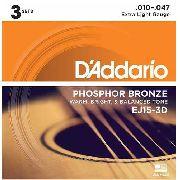 Pack Kit Com 3 Encordoamento Violão Aço 010 Daddario Phosphor Bronze Ej15 3d Com 3 Jogos