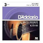 Pack Kit Com 3 Encordoamento Daddario Violão Aço Ej13-3d 011-052 Original