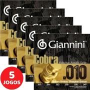 5 Encordoamento Violão Giannini Cobra Phosphor Bronze 010 Geeflef
