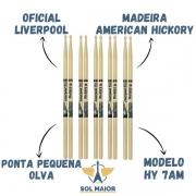 5 Pares Baquetas Hickory 7a Ponta De Madeira Liverpool Hy7am