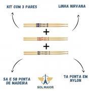Baqueta Nirvana Liverpool Ponta Madeira 03 Pares 7a 5a 5b