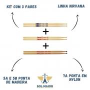 Baqueta Nirvana Liverpool Ponta Madeira e Nylon 03 Pares 7a 5a 5b