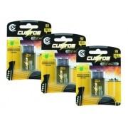 Bateria 9v Kit C/ 3 Baterias 9 Volts Custom Sound Alcalina