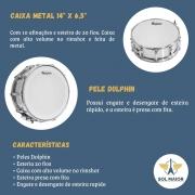Caixa Metal 14 Pol X 6,5 Pol Com 10 Afinadores 7493 Dolphin