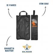 Capa Bag Porta Baquetas Almofadada Com 12 Pares Baqueta