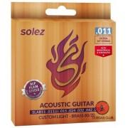 Encordoamento Guitarra Violao Brass 80/20 011 Slab11 - Solez