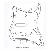 Escudo Guitarra Strato Para 3 Singles Spirit - X200 White