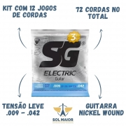 Kit 12 Encordoamento Guitarra Sg 009 Extra Light + Mi Extra