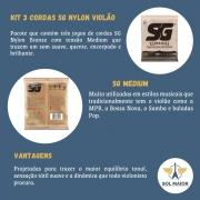 Kit 3 Encordoamento Violão Sg Nylon 028 + Braçadeira Delrin