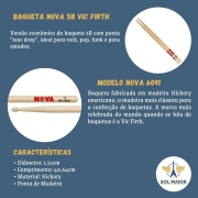Kit 3 Pares Baqueta Vic Firth Nova 5b Hickory Ponta Madeira