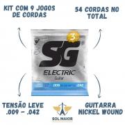 Kit 9 Encordoamento Guitarra Sg 009 Extra Light + Mi Extra