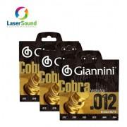 Kit C/3 Encordoamento Violão Aço 012 Giannini Cobra 85-15