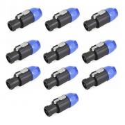 Kit com 10 Conector Speaker Para Caixa Linha 4P Polos SA2X