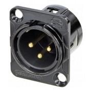 Kit com 2 Conectores Rean Neutrik Xlr Painel Macho Dourado Rc3mdlb