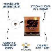 Kit com 3 cordas Sg 010 Violão + Rastilho + 6 Pinos + Nut