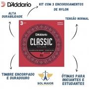 Kit Com 3 Encordoamento Daddario Violão Nylon Ej27n-3d